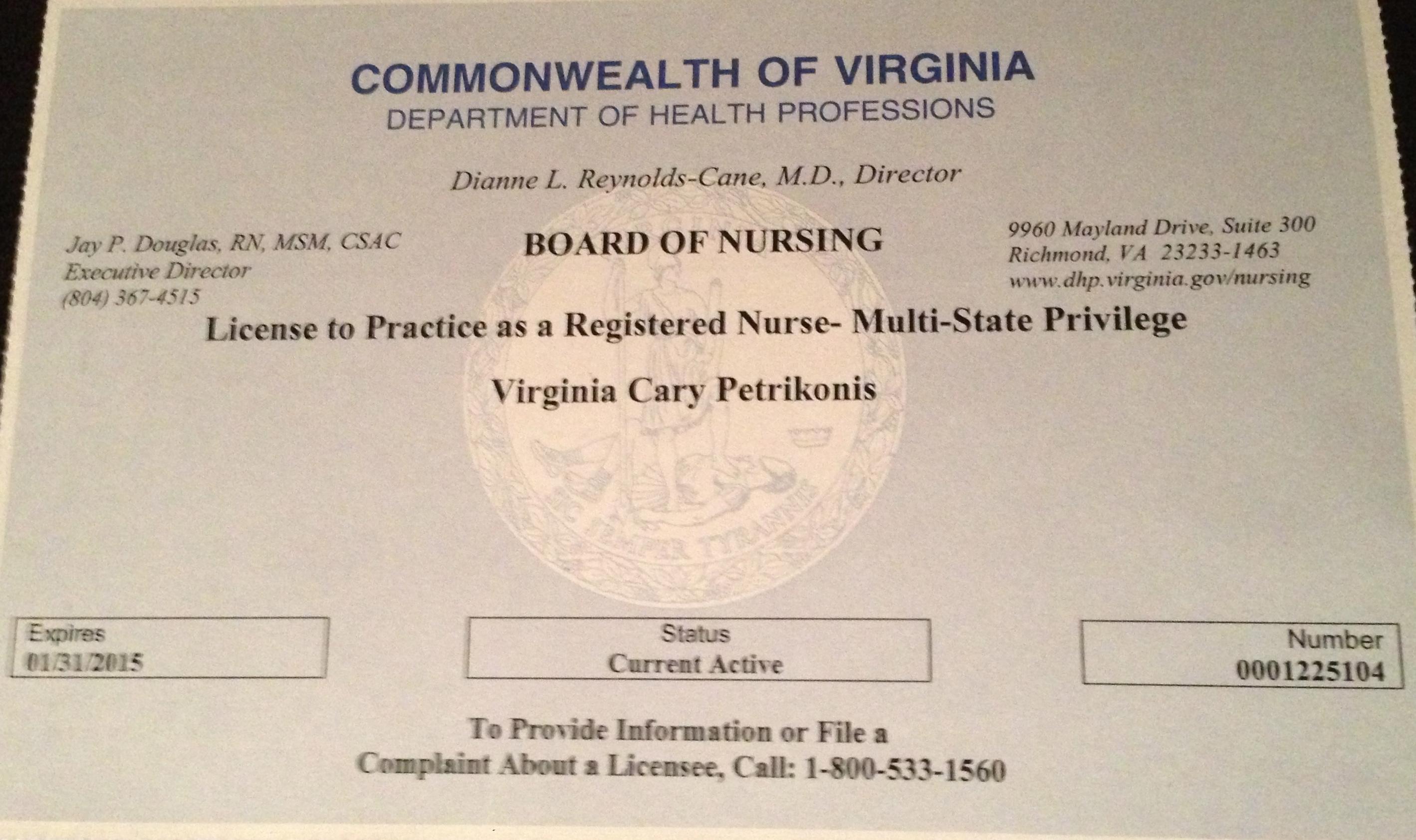 Licensure & Certifications | Virginia Petrikonis, MED, BA, BSN, RN